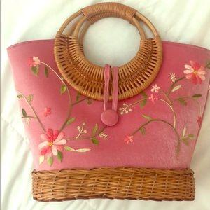 Handbags - Handmade woven rattan and embroidery handbag